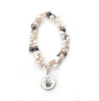Twisted Pearl Hand or Foot Print Bracelet - Single Print Charm